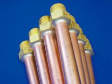 医療ガス用高圧配管施工例(銅+真鍮)